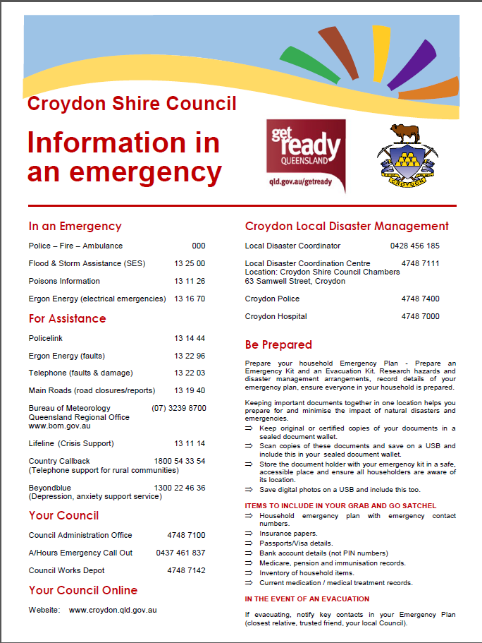 Croydon Shire important emergency information